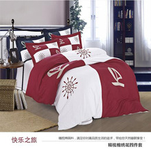 100% cotton happy journey sailboat Rudder helm embroidery burgundy/white luxury 4pcs home hotel comforter cover bedding set/3921(China)
