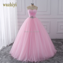wuzhiyi Pink Ball Gown Quinceanera Dresses 2017 Beaded vestidos de 15 anos Sweet 16 Dresses Debutante Gowns Dress For 15 Years(China)