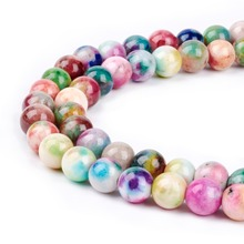 "4/6/8/10/12mm J-a-d-e Semi Stone Camouflage Charm Beads Bulk 16"" Dyed Natural White-J-a-d-e Ball Loose Strands Round"