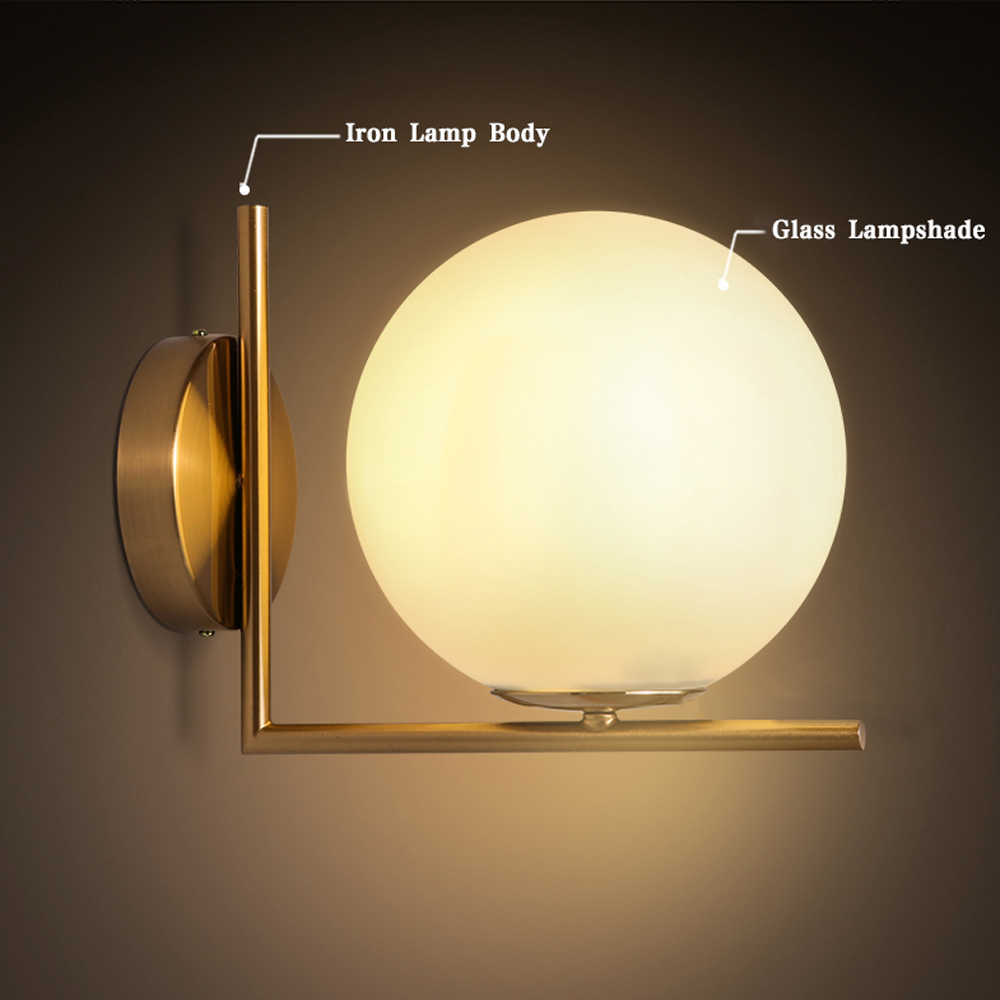 Led Wall Lamp Lamparas De Pared Modern Wall Lights For Bathroom Light Applique Murale Glass Lampshade E27 Bulb For Home Lighting<br><br>Aliexpress