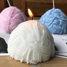 Handmade candle molds Knitting wool ball silicone molds(China)