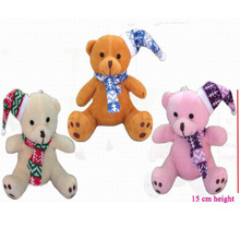 12 pcs/lot, H=15cm, 3 colors, Plush Christmas bear keyring,Christmas tree decoration,Stuffed bear with Christmas hat t