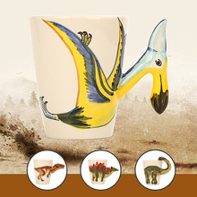 3D Cute Dinosaur Mugs Creative Hand Painted Ceramic Mugs Child Tea Cup Fashion Coffee Cups Novelty Gifts Funny Mug Personalized(China)