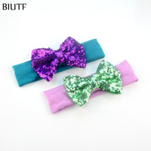 20pcs/lot Fashion Big Messy Embroided Sequin Gold Bow Headband kids Cotton Turban Model kids Photography Props FD220(China)