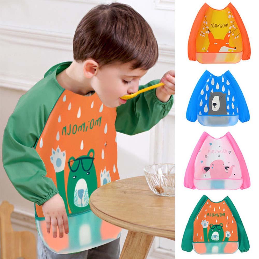 Baby Bib Toddler Waterproof  Full Sleeve Feeding Smock Bib Apron EVA Cartoon