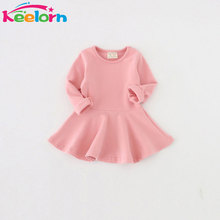 Keelorn Girls Dresses 2017 New Spring Casual Style Pure cotton falbala long-sleeved dress Baby candy color Lovely princess dress(China)