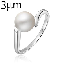 3UMeter Pearl Rings for Women Natural Freshwater White Pink Pearl Rings Fashion Simple Jewelry 925 Sterling Silver Color Rings
