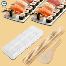 5 Rolls Sushi Maker Sushi Mold Storage Box Rice Form Bamboo Mat and Rice Paddle Wood Food Kitchen Bento Acessorios Cooking Tool