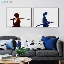 Modern Minimalist Watercolor Canvas A4 Art Print Poster Japanese Samurai Champloo Wall Pictures Home Decor Big Painting No Frame(China)