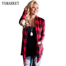 2017 New Arrival Winter Women's Casual Red Purple Green Black Suede Elbow Patch Long Sleeve Plaid Cardigan E85048(China)