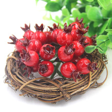 20pcs Mini Pomegranate Fruit Fake Smooth Glass Small Berries Artificial Silk Flower Red Cherry Wedding Home Christmas Decorative