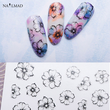 1 sheet Watercolor 3D Nail Art Stickers Fading Flower Nail Sticker Adhesive Nail Decals