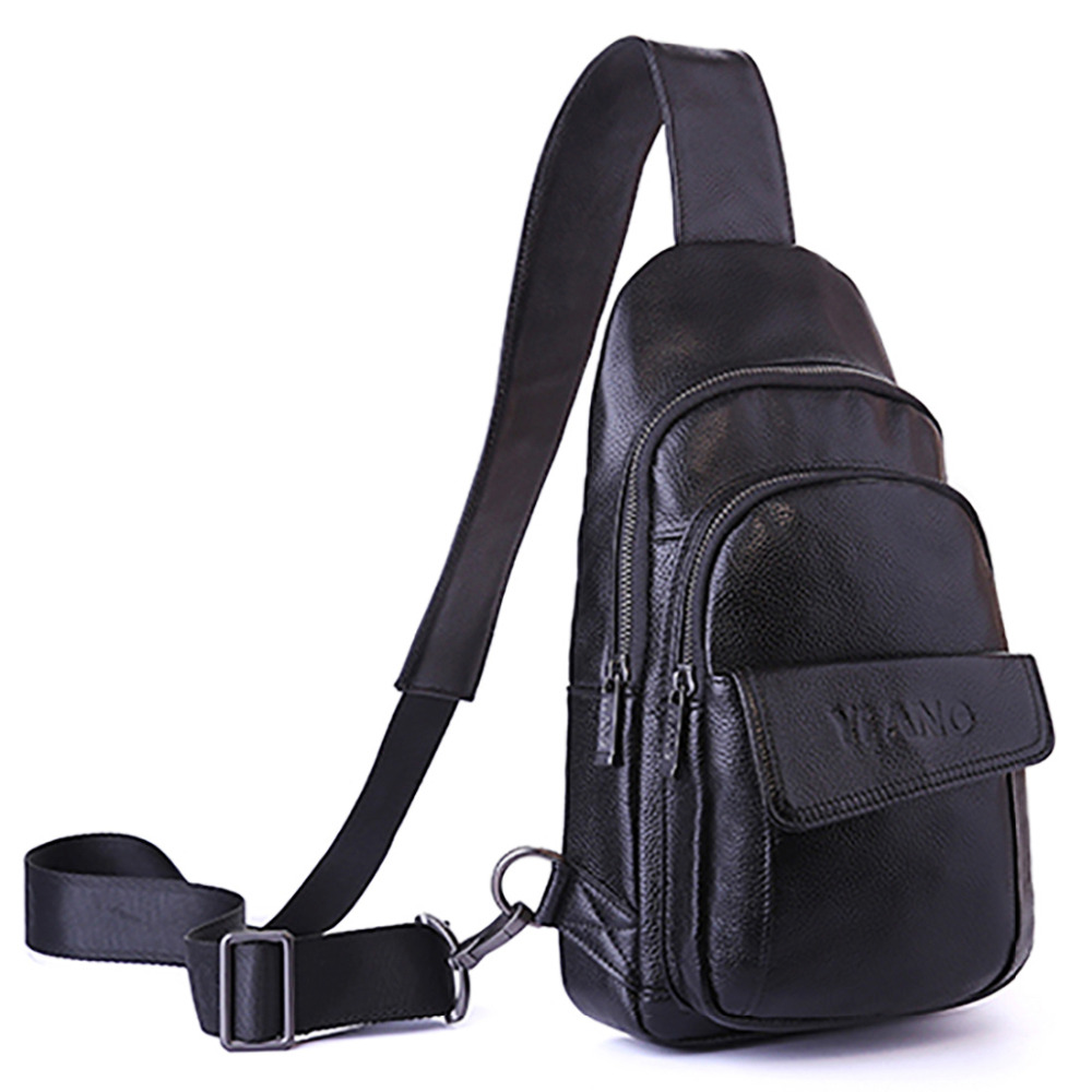 Genuine Leather Cowhide Cross Body Chest Back Day Pack Travel Casual Brand Famous Mens Sling Bags Messenger Single Shoulder Bag<br>