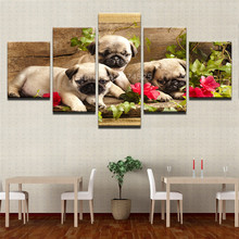 Modern Canvas Living Room Frame 5 Piece Cute Pug Puppies Flower HD Home Decor Printed Pictures Painting Wall Art Modular Posters(China)
