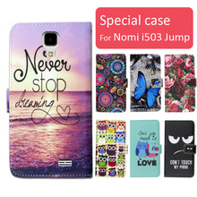 Fashion cartoon printed flip wallet leather case for Nomi i503 Jump with Card Slot phone bag book case,free gift