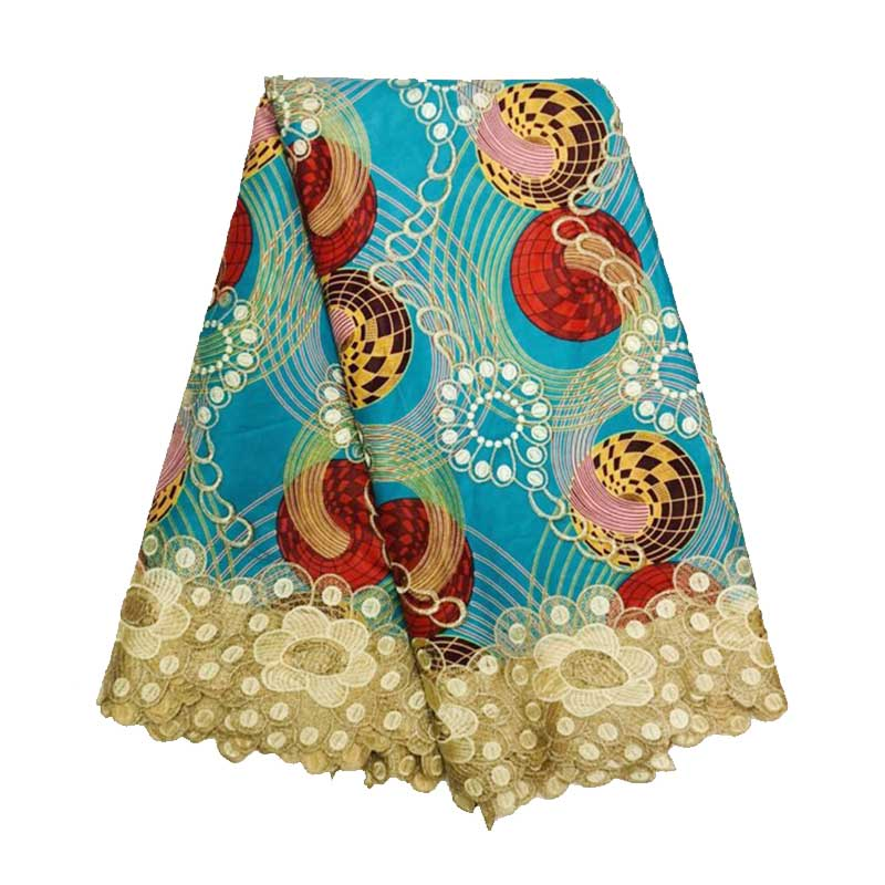 Lace-Wax Prints-Fabrics Dutch Pagne Ankara African 100%Cotton with New Embroidery title=