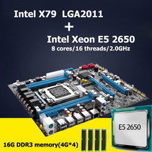 HUANAN motherboard CPU combos revision 2.47 Intel X79 LGA 2011 motherboard with CPU Xeon E5 2650 (4*4G)16G DDR3 RECC memory(China)