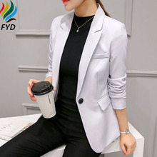 Casual Solid Women Blazers And Jackets Suit Ladies Long Sleeve Work Wear Blazer 2017 Spring Autumn Single Button Female Outwear()