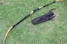 New product highest quality! Handmade cow leather longbow with horn on tips Archery Recurve Bow 20Lbs-60lbs + bow bag