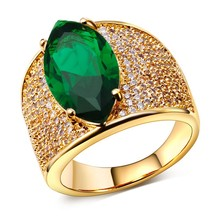 Top Trendy Women CZ Rings Bling Fashion Wedding Accessories Big Green Cubic Zirconia Gold-color Lead Free Allergy Free