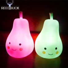 Led Night Light Lovely Smiley Face Pear Lamp Eyes Protection Led Silicone Table Night Lamp Kids Bedside Home Decoration Lighting