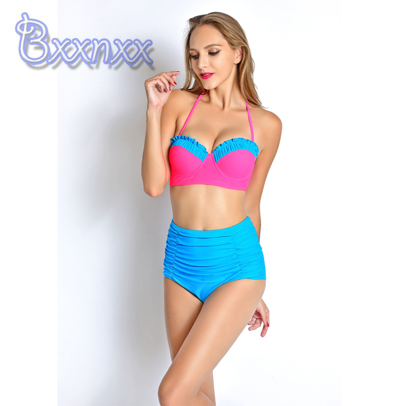 2016 New High Waist Flouncy Bikini Women Push Up Patchwork Swimsuit Strappy Bouffant Swimwer Solid Blue Rose Red Bathing Suit<br><br>Aliexpress