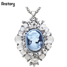 "Lady Queen Cameo Pendant Opal Crystal Necklace For Women Vintage Antique Silver Plated Fashion Jewelry 28"" TN79"