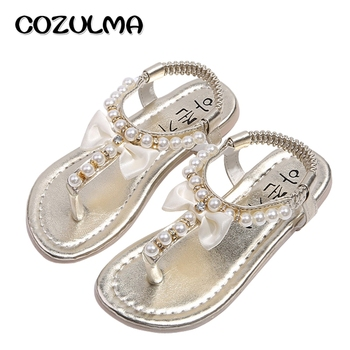 COZULMA Girls Sandals Summer Shoes Girls Flip Flops Kids Beach Sandals Princess Rhineston Beading Shoes Child Gladiator Shoes