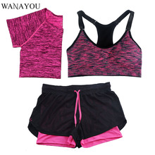 WANAYOU 3 Pieces Women Fitness Yoga Set T-Shirt & Bra & Shorts Sport Set Gym Clothes Sport Wear Training Suit quick dry Running