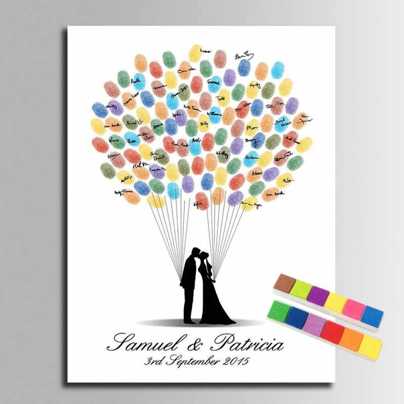 Thumb Fingerprint Signature Canvas Painting Balloon Tree Wedding Gift Personalize Wedding Decoration DIY Guest Book
