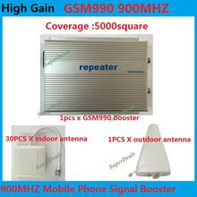 Direct Marketing Sunhans GSM 900Mhz 5000square meters 3W(35dBm) gain 85dB GSM Cell Phone booster repeater +30PCS indoor antenna