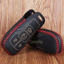 Genuine Leather Car Key Bag Case Cover Holder for Ford mustang 2015 2016 lincoln mondeo 2013  car key 4 5 buttons