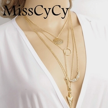 MissCyCy 2016 Cheap Jewelry Initial lariat Necklace Multi Layer Necklace Sexy Circular Arrow Angel Wing Pendant Necklace