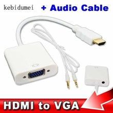 HDMI to VGA 3.5mm plug Audio Cable Adapter Converter Male to Female HDMI VGA Video adaptor HDTV CRT Monitor TV for XBOX 360 PS3(China)