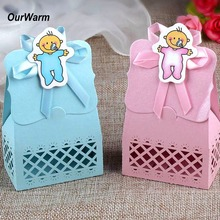 Ourwarm 12pcs Baby Shower Candy Box Cute Gift Bag Paper for Baby Shower Decorations Boys Girls Party Set Event Party Supplies(China)