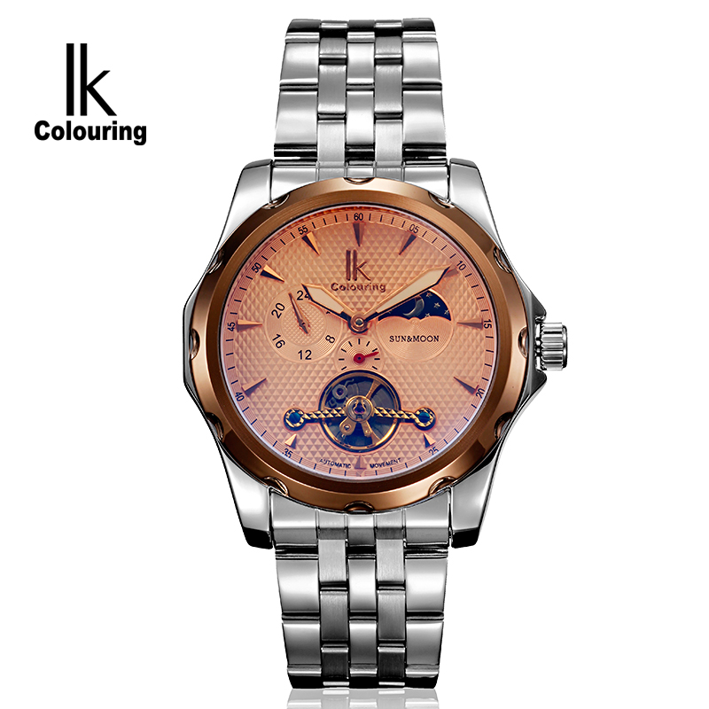 New 2017 IK Luxury Mens Allochroic Glass Moonphase Watch Auto Mechanical Watches Wristwatch Free Ship  Gifts<br>