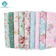 9pcs/lot 20cm*25cm Blue Green Pink Floral Cotton Fabric for Patchwork Sewing Tilda Doll Cloth Telas Patchwork