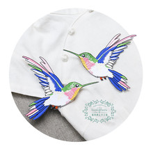 A new symmetric hummingbird cloth paste size bird Decal cowboy clothes bag decoration fill the hole can be hot gum paste
