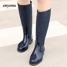 2color famous Spring Autumn Women New Fashion Rain High Knee Length Black Blue Rubber Boots Shoes Waterproof Wellies(China)