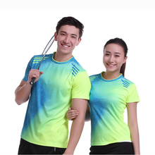New Sportswear Quick Dry breathable badminton shirt ,Women /Men table tennis shirt team game stripe short sleeve O Neck T Shirts