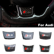 Car Styling 3D Carbon Fiber Sticker Steering Wheel S line RS Emblem Badge Decal for Audi A1 A3 A4 A5 A6 Q3 Q5 Q7 S3 S4 S5 S6 S7