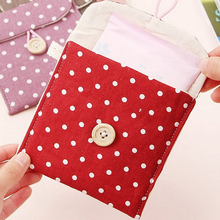 Polka dot organizer storage cute bag female hygiene sanitary napkins package small cotton storage bag purse case(China)