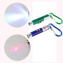 1pcs Laser Pointer Pen Red Mini FlashLight Torch Emergency Keychain 5mW 2 in 1 LED  Brand New