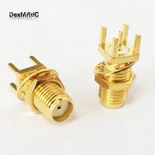 1PC SMA female Jack PCB Mount RF coax connector straight type goldplated Wholesale price Fast Shipping(China)