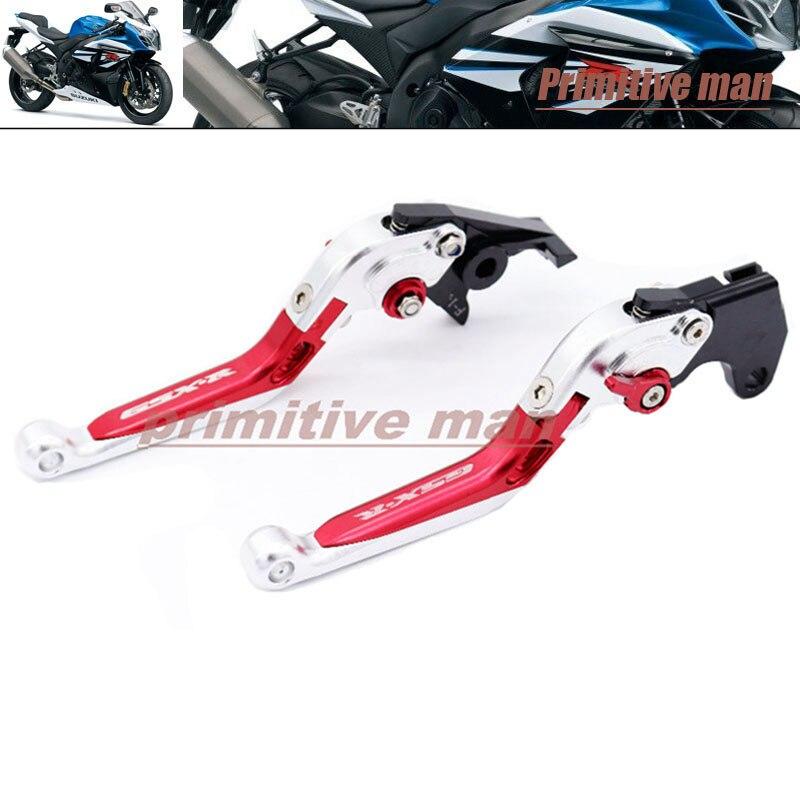 For SUZUKI GSX-R 600/750/1000 GSXR600 GSXR 750 Motorcycle Folding Extendable Brake Clutch Levers LOGO GSX-R Silver+Red+Silver<br>
