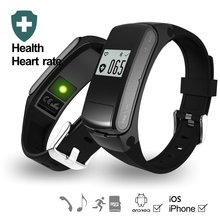E-EDC F50 Smart Bracelet Bluetooth Call Music(Micro SD/Bluetooth) 2 Patterns Heart Rate Monitor Smart Band For Android IOS(China)