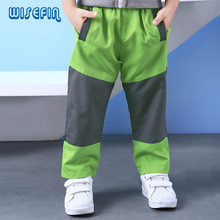 WISEFIN Brand New Spring & autunm boys overalls waterproof windbreaker childrens splicing pants casual Loose trousers(China)