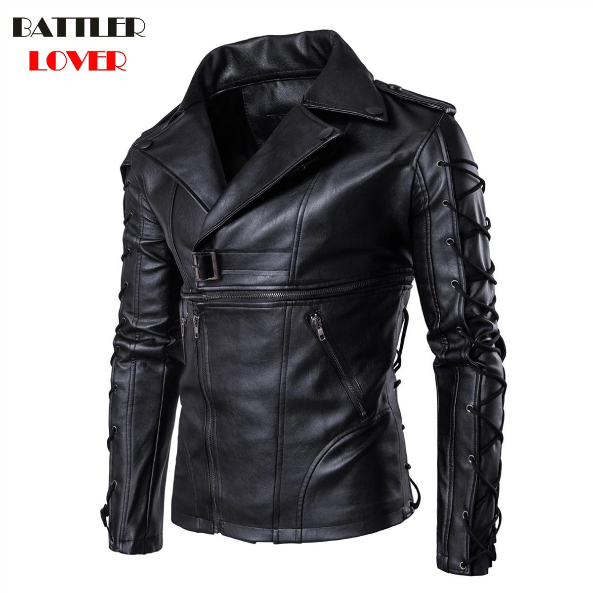 2018 Natual Leather Jackets Mens Bomber Bandage Winter Motorcycle Jacket Men Genuine Leather Windbreaker Motor Biker Hombre Coat