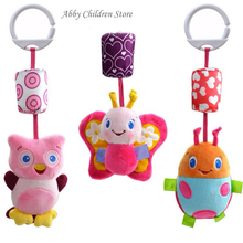Abbyfrank Baby Crib Stroller Toy 0-12 months Plush Owl Butterfly Ladybug Musical Infant Newborn Hanging Baby Rattle Soft Playpen(China)
