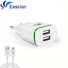 Eastion LED Light 2 Ports USB Charger Cable EU Plug 5V 2A Mobile Phone Wall Adapter For iPhone 6 7 iPad Samsung Charging Device